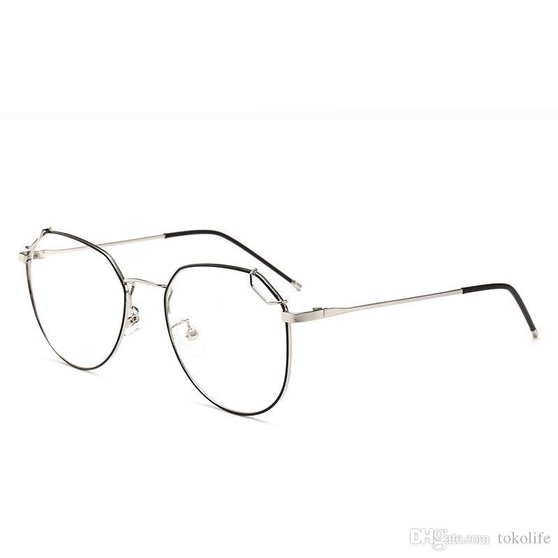 fc163993ff 2019 2018 New Fashion Retro Rivet Frame Eyeglasses Frame Men Women Anti Blu  Ray Anti Radiation Lens Eye Glasses Frames For Myopia Glasses From  Tokolife