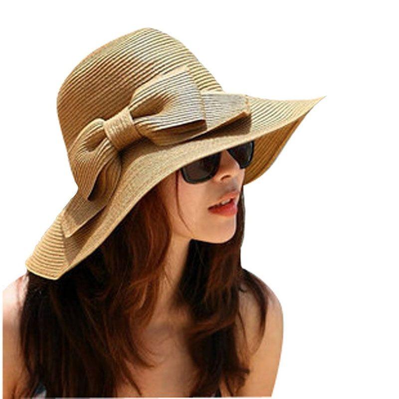 Compre 2018 Sombrero De Paja Bohemia Moda Verano Sombrero De Mujer Sun Floppy  Playa Sombrilla Visera Ancha Grande Borde Cap Girls Chapeau FemmeF80 A   40.37 ... 40f00f48298