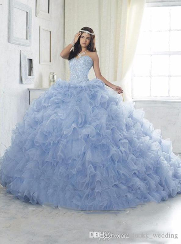 93b541ff3 Compre Vestido De Bola Azul Claro Vestidos De Quinceañera Con Cuentas  Cristales Organza Cariño Cascada De Volantes Puffy Lace Up Sweet 16 Vestidos  Vestidos ...