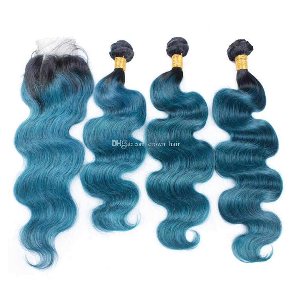 Омбре синий волна тела наращивание волос с закрытием кружева 4x4 темные корни 1b синий человеческих волос ткет с закрытием кружева 4 шт. / лот