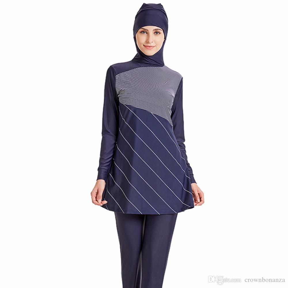 b10bce8f64 Acheter Modeste De Maillots De Bain Musulmans Hijab Muslimah Femmes Plus La  Taille Islamique De Bain Maillot De Bain À Manches Courtes Surf Wear Sport  ...