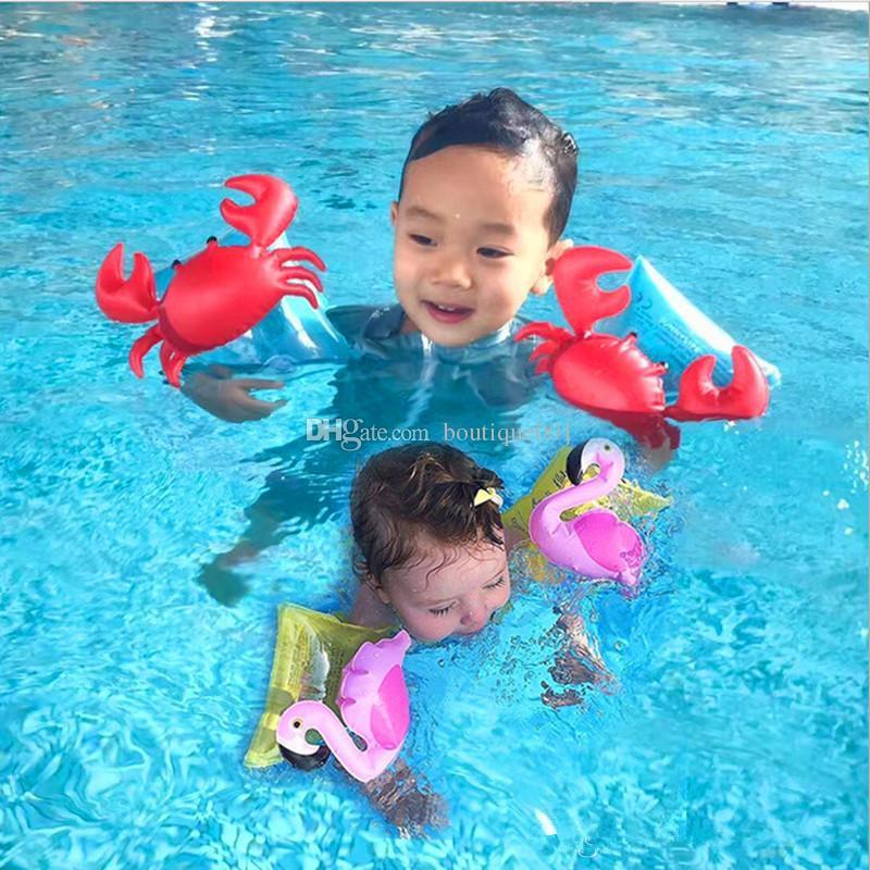 INS Kids Inflatable arm band cartoon swimming armlet flamingo Crab Baby swim rings safty assistive tools Inflatable Float Swim Arm Ring z02