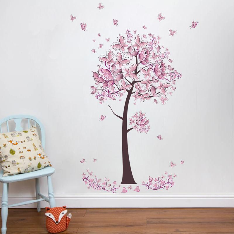 Pink Butterfly Flower Tree Wall Stickers Decals Girls Women Flower Mural  Vinyl Wallpaper Home Living Room Bedroom Decorhaif Wall Stickers Letters  Wall ... a5a83185e