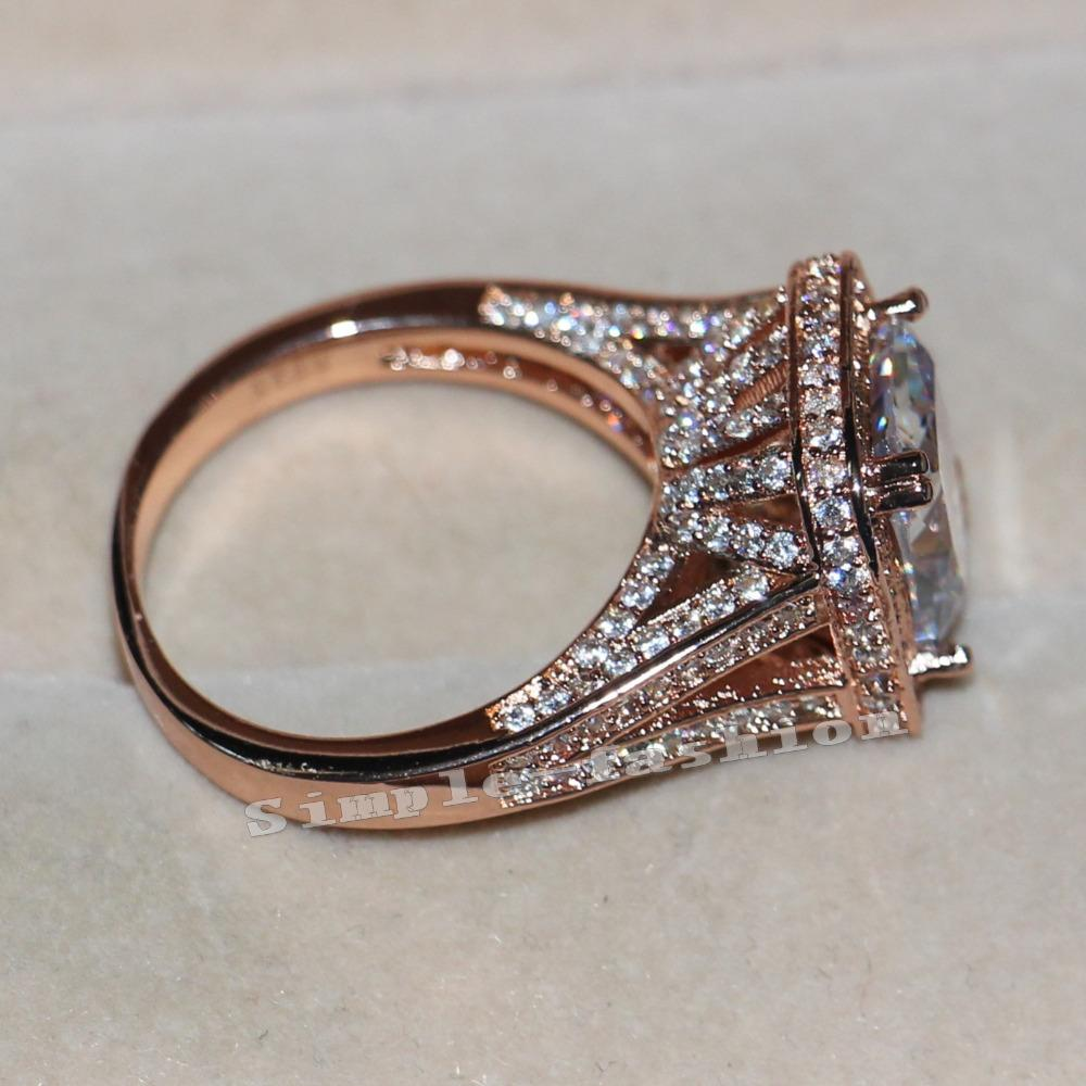 X Fashion Jewelry Rose Gold 925 Sterling Silver Ring Cushion Cut 10ct Aaaaa Zircon Cz Engagement Wedding Band Ring For Women