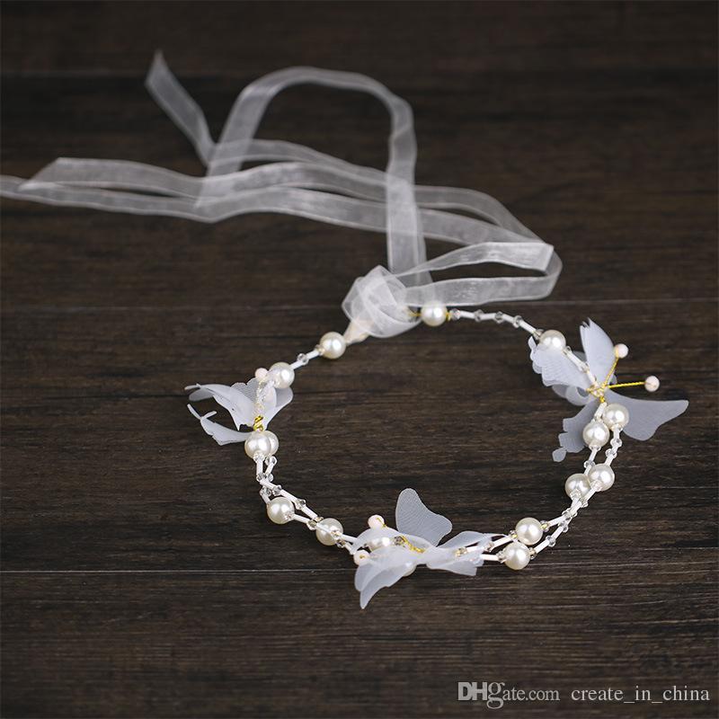 2018 New Arrival Charm Butterfly Headbands Pearl Wreath Long Bridal Hairbands Headdress Bride Tiara Headpiece Wedding Hair Accessories
