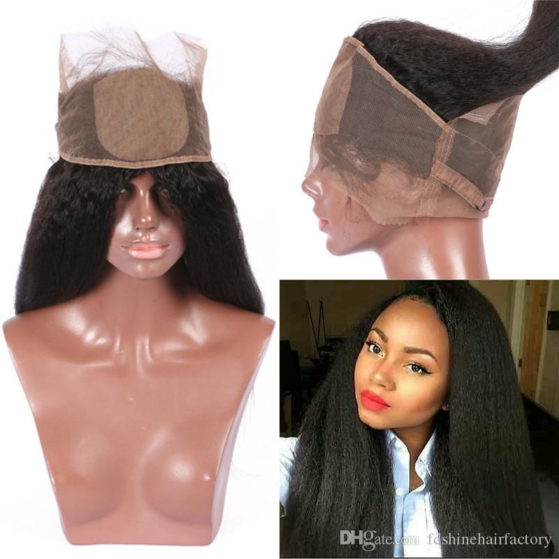 Silk Base 360 Lace Frontal Closure Indian Kinky Straight Virgin Human Hair Pre Plucked Silk Top 360 Lace Frontals FDSHINE