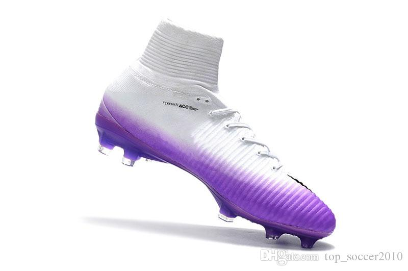 e2b8c8753c4 2019 White Rainbow Cristiano Ronaldo Cr7 Soccer Shoes Original Soccer Cleats  Mercurial Superfly Champions Football Boots Magista Football Shoes From ...