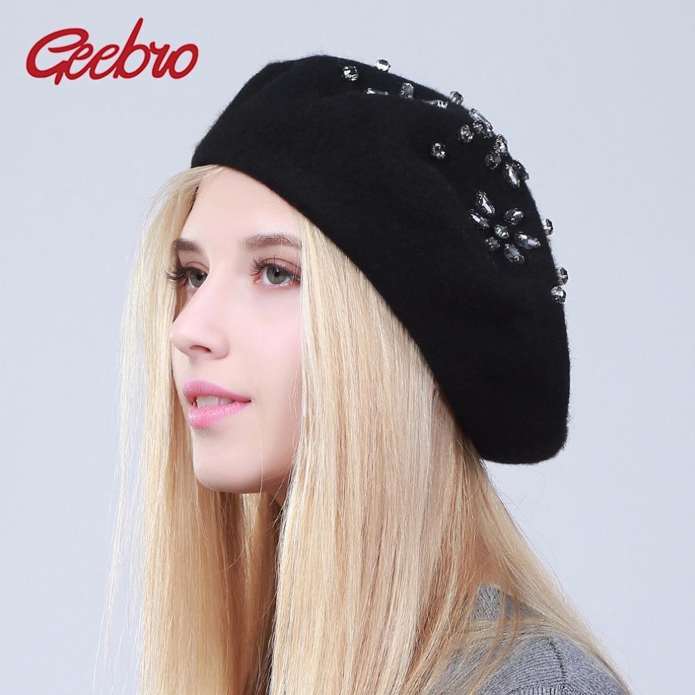 272566d82d87d Compre Geebro Sombrero De Boina Para Mujer Moda Sólido Lana Negra Boinas De  Punto Con Diamantes De Imitación Señoras Del Artista Francés Sombrero De  Boina ...