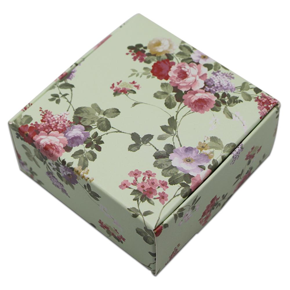 50pcs Lot Small Square Cardboard Gift Boxes Packaging Floral Print Paperboard Paper Folding Carton Jewelry Soap Craft 3 Style