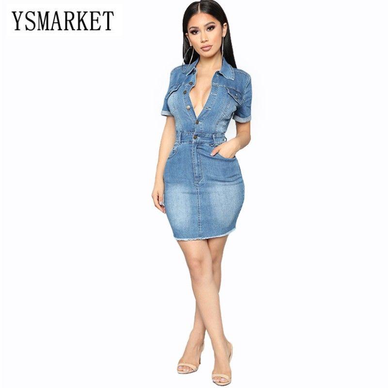 Acquista YSMARKET Femminile Abbigliamento Estivo Sexy Denim Dress Slim Hip  Con Tasche Monopetto Jeans Casual Abiti Da Cowboy Le Donne E18332 A  21.51  Dal ... 85a8c3c5672d