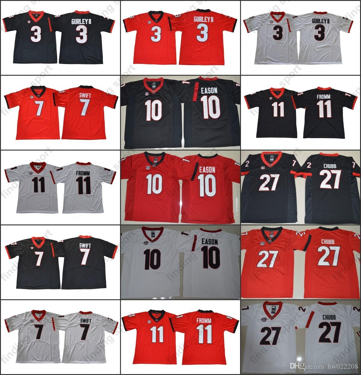 d3fc0a975 NCAA Georgia Bulldogs Football Jerseys Jake Fromm Nick Chubb DAndre Swift  Roquan Smith Black Red White 2018 Rose Bowl Championship Online with   18.94 Piece ...