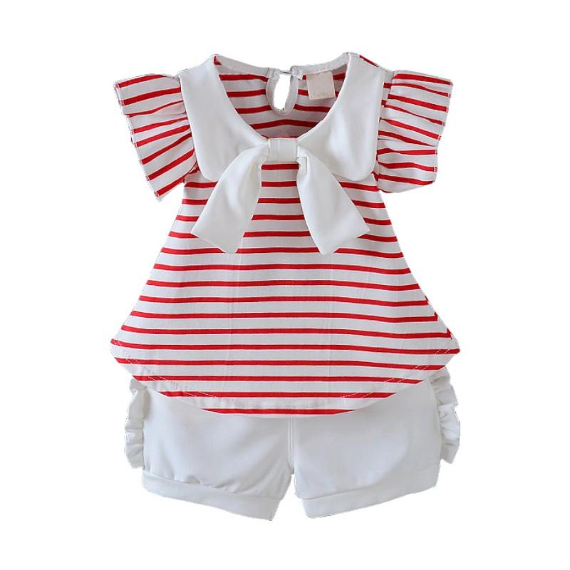 New Clothes Set For Girls Baby Clothes Set Cute Striped Short Sleeve T-Shirt+Short Outfits Kids Girl Clothing Summer