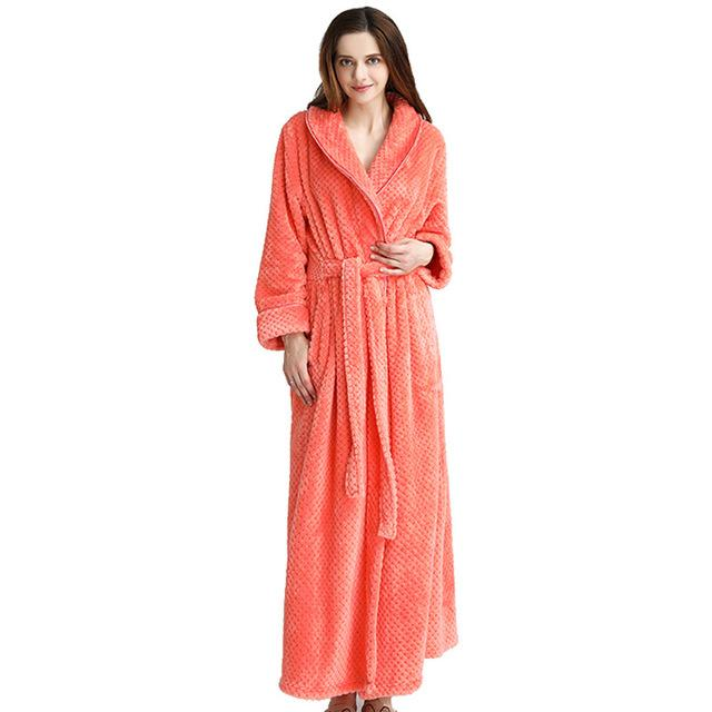 2019 Women Thermal Hooded Extra Long Flannel Bathrobe Thick Warm Winter  Kimono Bath Robe With Belt Female Dressing Gown Plus Size From Flowter da1cf6347