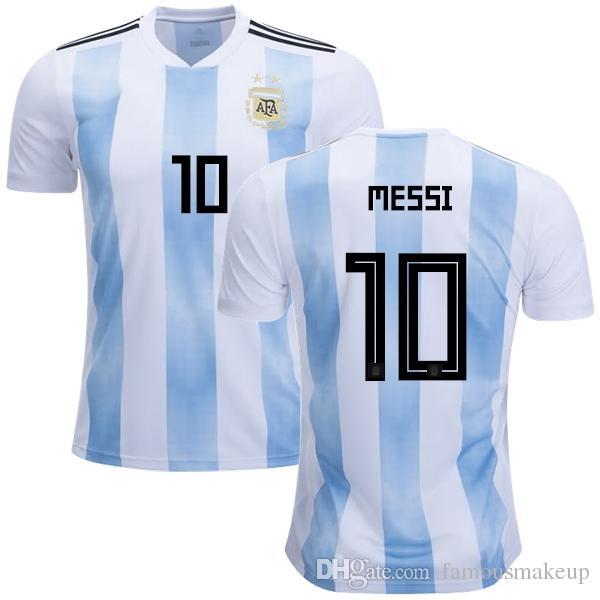 30e0141f94e6a Compre 2018 Copa Del Mundo Argentina Soccer Jersey 2018 Argentina Camiseta  De Fútbol Local   10 MESSI   9 AGUERO   11DI MARIA Fútbol Uniforme Talla S  4XL En ...