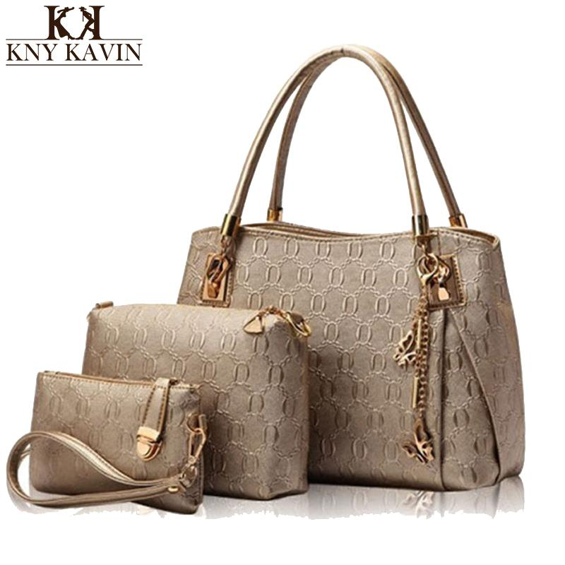 6817117c56a83 KNY KAVIN New Women Bags Set Leather Handbag Casual Shopping Bags Ladies  Brand Designer Bag Handbag+Messenger Bag+Purse Y1892608 Leather Backpack  Beach Bags ...