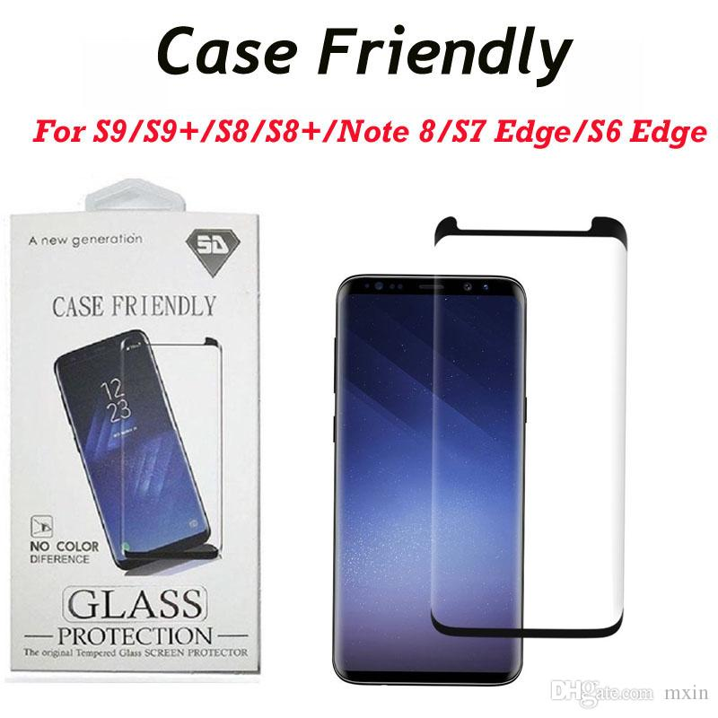 pretty nice 3f297 d7eb1 3D Curved Tempered Glass Case Friendly Mini Size Screen Protector Film For  Samsung Galaxy S7 Edge S8 S9 Plus Note 8 With Retail Package