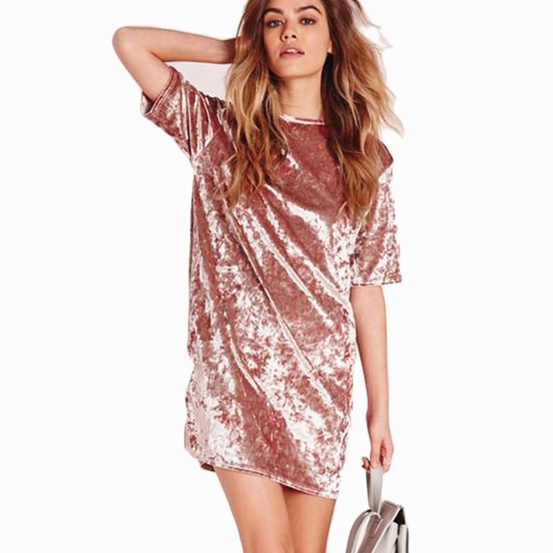 2018 New Fashion Casual Summer Women Dress Loose Solid Short Sleeve ...