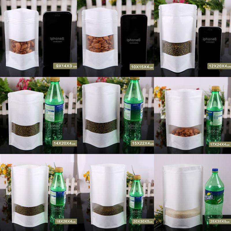 Weiß aufstehen Papier Frosted Packaging Bag 9 Größe Snack Keks Tee Verpackung Lagerung Ziplock Bag White Paper Geschenk-Beutel mit klaren Fenster