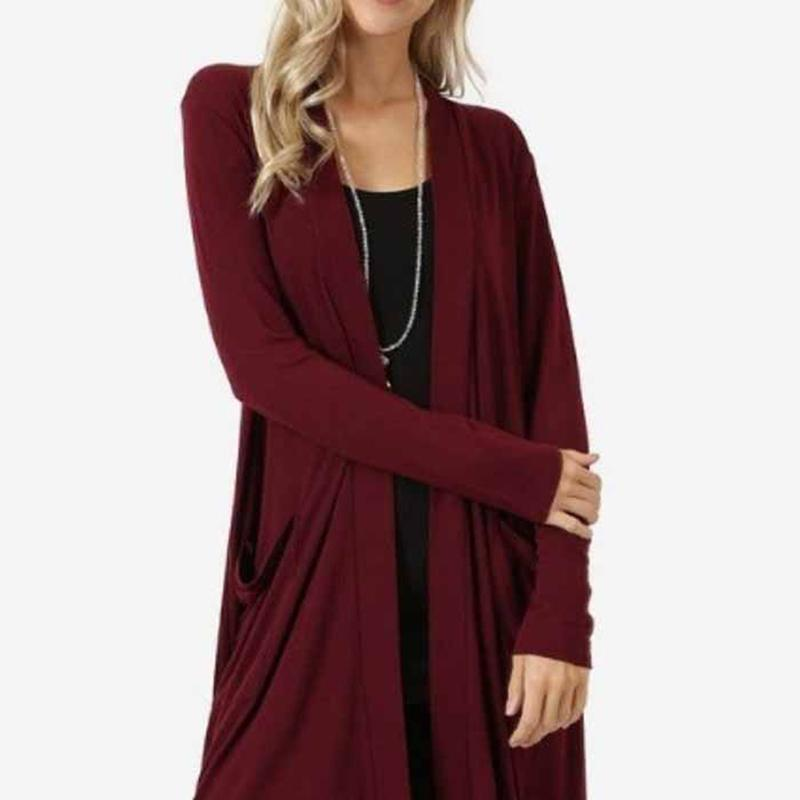 974ce8dcb Autumn Winter Open Front Women Cardigan Sweater Long Sleeve Pockets Loose  Casual Long Cardigan Coat Plus Size