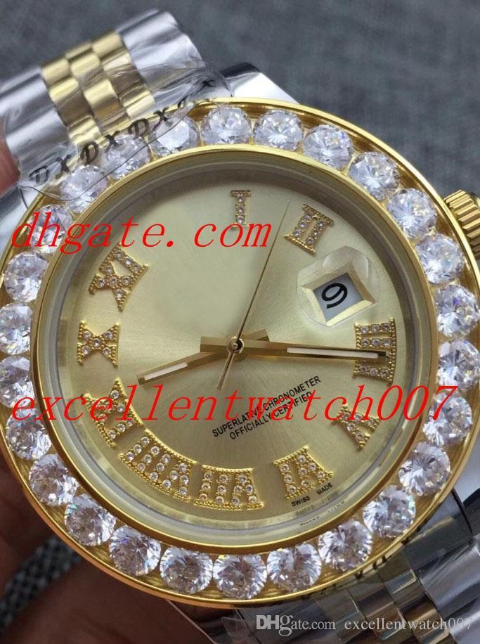 Venda quente Top Quality Asia 2813 Movimento 18k Ouro Amarelo presidente Diamond Roman superfície do vinho de discagem 225235 Mens Automatic Watch