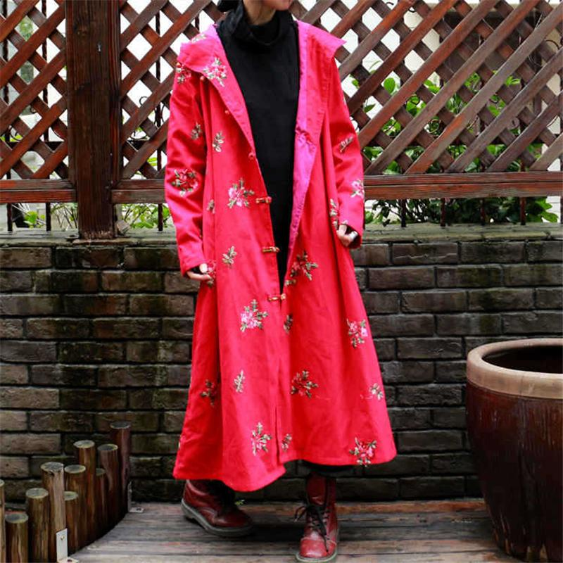 8c9f06086 2019 Johnature Women Embroidery Trench Hooded Coat Button Chinese ...