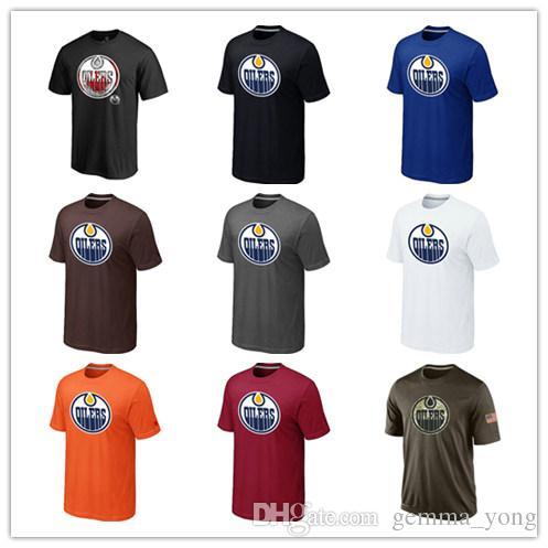 84f60a1af0e79 Popular Edmonton Oiler T-Shirts 2018 Hockey Jerseys Cheap Tshirts Oiler  Salute To Service Camouflage Men's Shirts White Black Blue Good