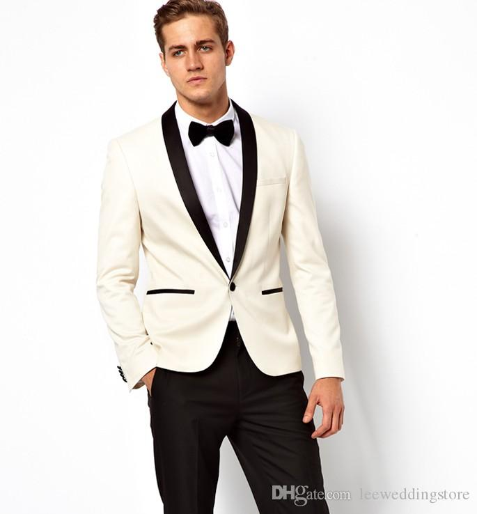 Ivory Shawl Lapel Men Suits Blazer Slim Fit Wedding Suits Custom Made Grooms Wear Tailored Tuxedos Terno Masculino Jacket+Pants