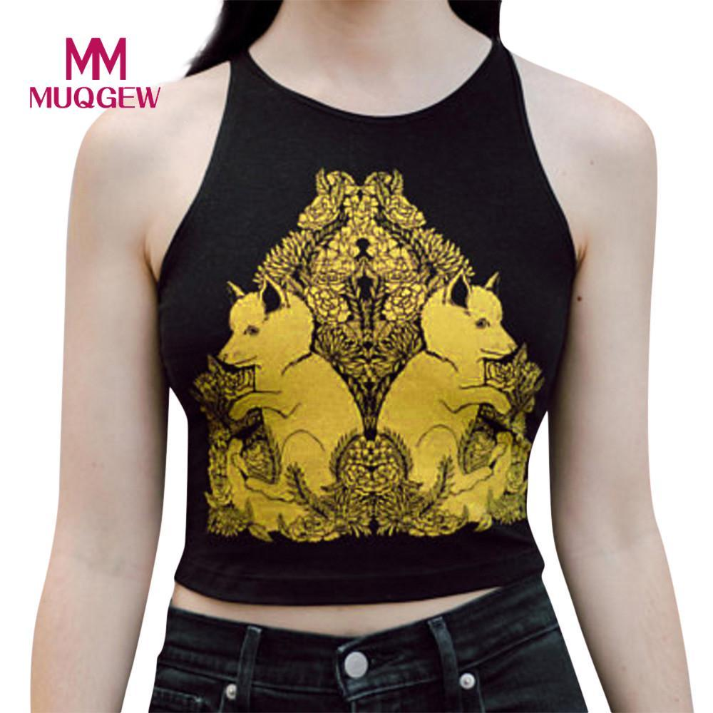 21416e68a3ea0 2019 MUQGEW Summer Top Strap Floral Print Chiffon Sexy Tops Off The Shoulder  Crop Tops For Women Halter Tank Top Womens Gothic From Candycloth