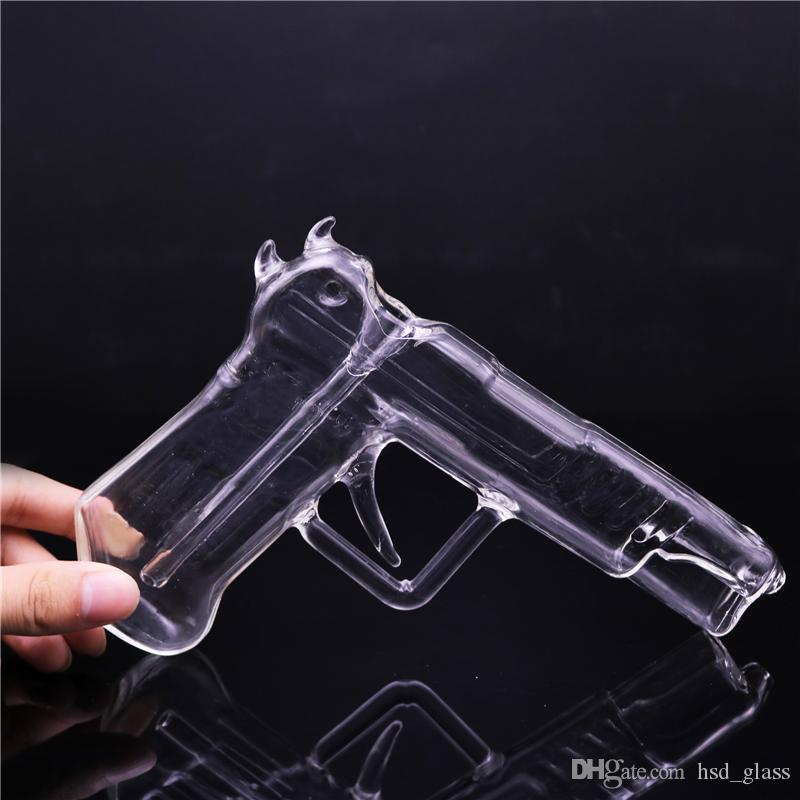 Portable Glass Smokig Pipe Clear Glass Gun Shaped Water Pipes Hookah Pipes Glass Bong Dab Oil Rigs