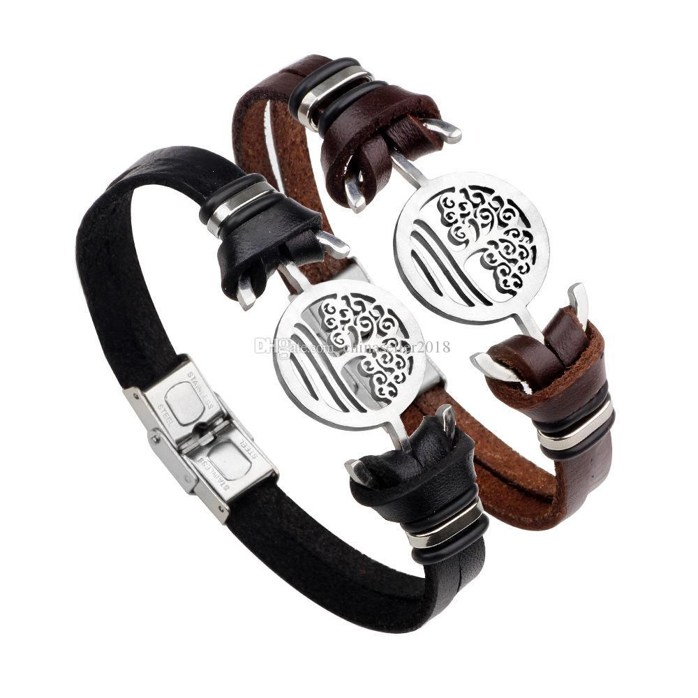 Retro Men Leather Tree Of Life Anchor Bracelet Bangles Wristband Belt Handmade Vintage Bracelets Genuine Leather Stainless Steel Bracelets