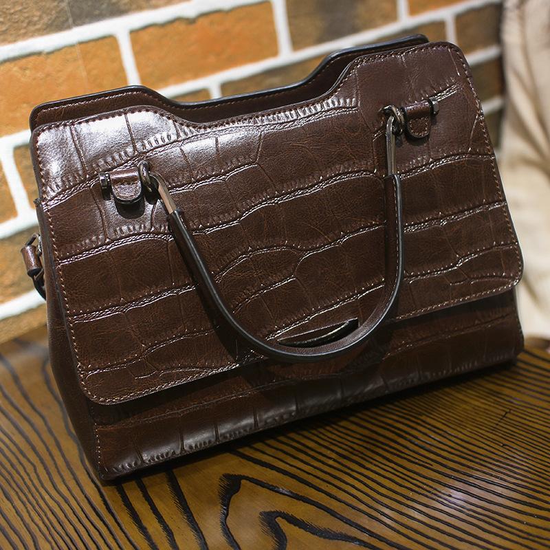 a59e0abb3ed6 Kajie Women Top Handle Bags Tote Handbag Crocodile Pattern Genuine ...