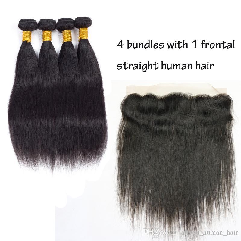 Heißer Verkauf Peruanische Brasilianische Reine Haar Gerade Und Körperwelle Haar Spinnt Closure 4 Bundles Menschenhaare Wefts mit 13x4 Spitze Frontal verschluss
