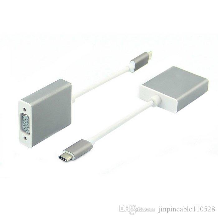 USB-C USB 3.1 Tipo C a VGA 1080p HDTV Cable adaptador con caja de aluminio plateado para laptop Macbook de 12 pulgadas