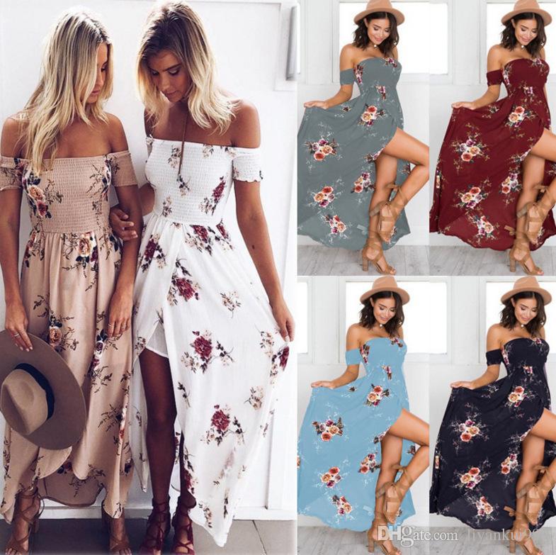 96afae072a Compre Boho Vestido Largo Sin Tirantes Elástico Sexy Playa Vestido De Impresión  2018 Nuevo Verano Más El Tamaño De Las Mujeres Ropa Irregular Vestido De ...
