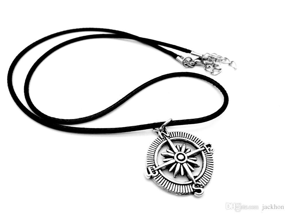 Vintage Steampunk Vegvisir Boussole Collier Nautique Marine Seaman Sailor Ancre Rudder En Cuir Corde Colliers pour Trouver Direction