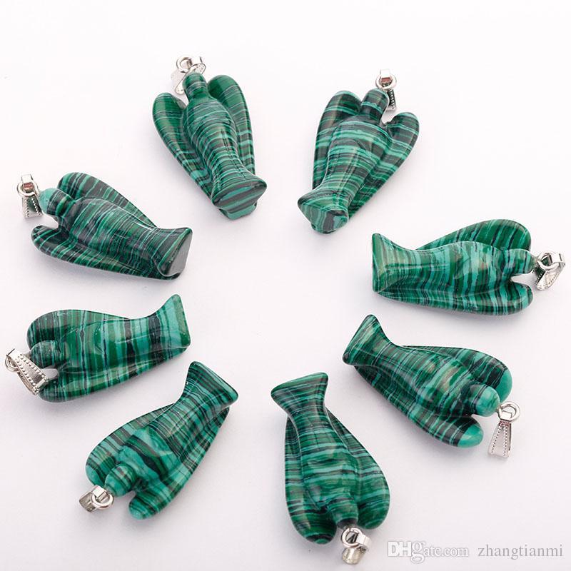 Moda piedra natural grabado ángel colgante del grano para la joyería que hace el collar venta al por mayor cerca de 35 mm * 24 mm * 13 mm envío gratis