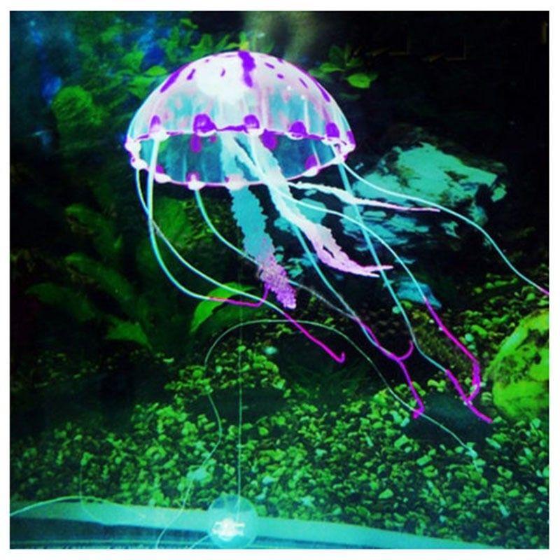 Effet rougeoyant de haute qualité aquarium artificiel Jellyfish Aquarium Décoration Mini sous-marin Ornement sous-marine Pet Décor