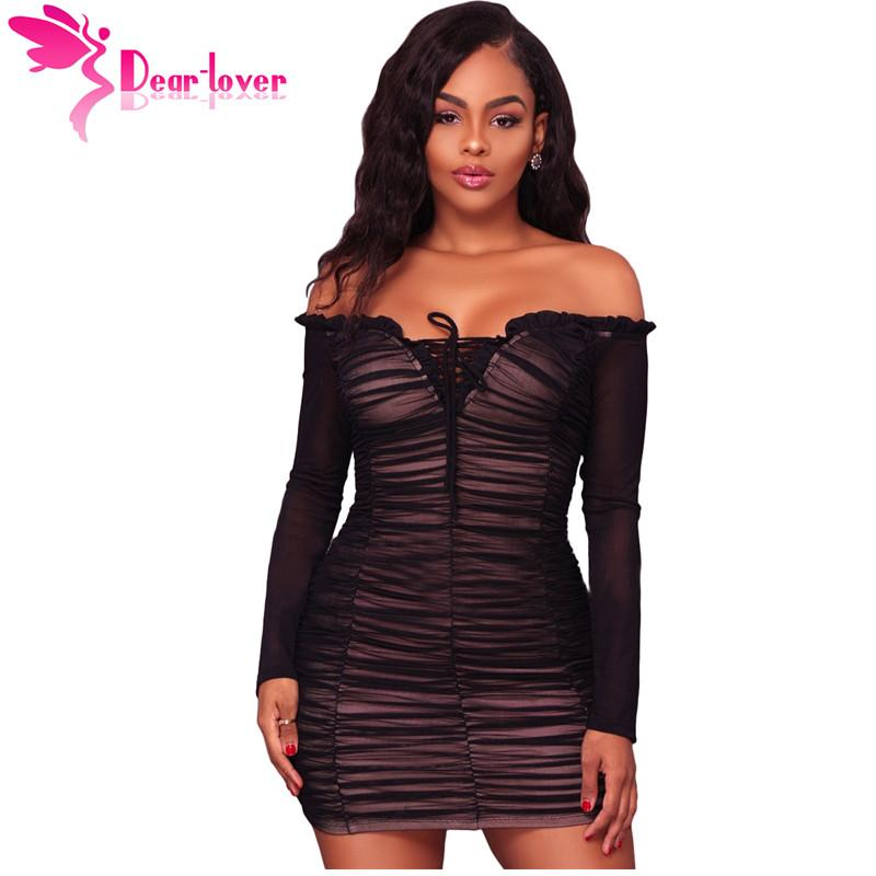 2019 Dear Lover Sexy Off Shoulder Bodycon Dresses Autumn Black Long