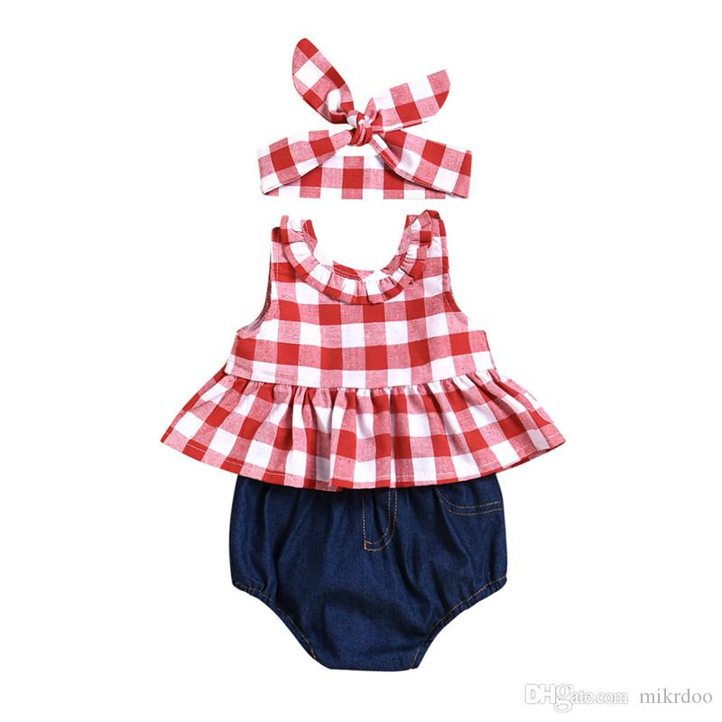 fabfdf5657469 Mikdoo 2018 Summer Kids Baby Girl 3PCS Outfit Sleeveless Backless Bow Plaid  Top Short Jean Headband Clothes Set Toddler Casual Sundress