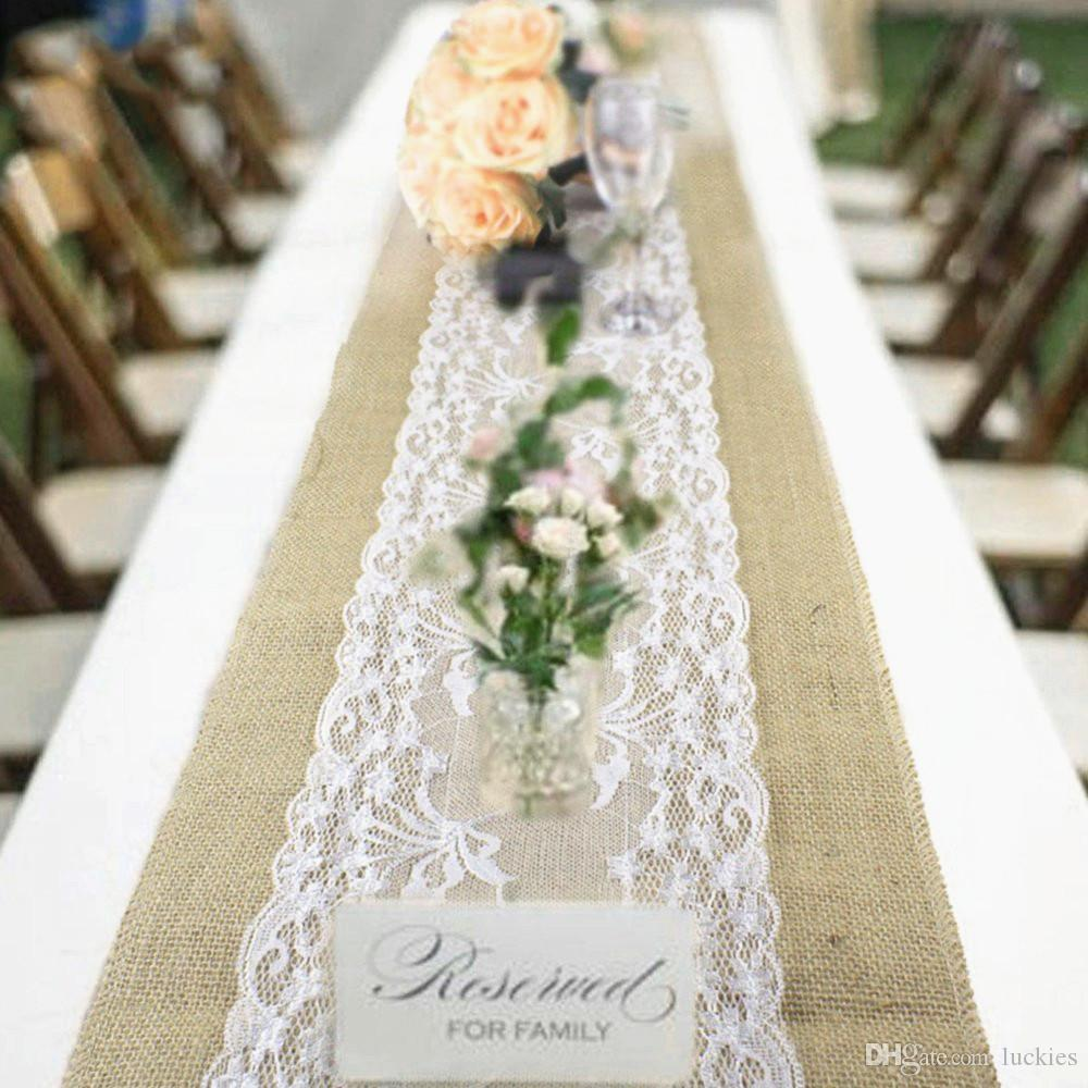 Natural Burlap Table Runner Hessian Vintage Tablecloth Cover With Jute Lace  Rose Pattern For Wedding Festival Event Table Decoration Valentine Table  Runner ...