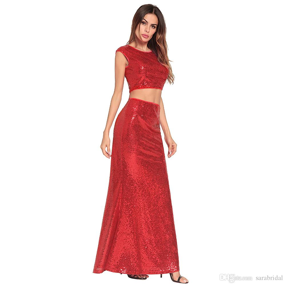 Cheap Sequined Prom Dress 2018 Crew Sleeveless Backless Mermaid Long African Formal Evening Dresses Party Casual Gown Beachwear