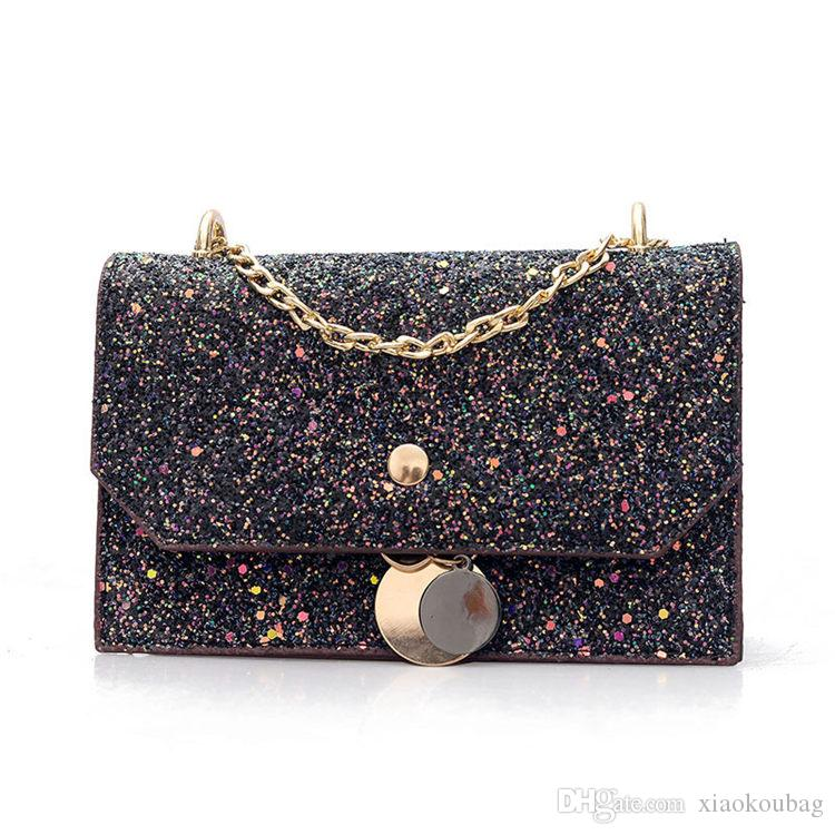 Korean Casual PU Chains Sequins Cross Shoulder Bag For Women Leather ... a3a4b79ad1f14