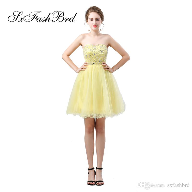 Elegant Girls Dress Sweetheart With Beading A Line Mini Short Yellow