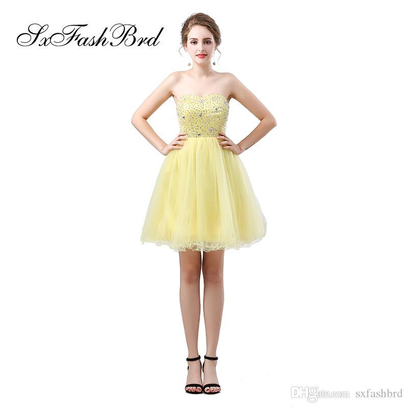 cc8320d068568 Satın Al Zarif Kız Elbise Sevgiliye Boncuk Ile Bir Çizgi Mini Kısa Sarı  Kadınlar Için Tül Parti Örgün Abiye Balo Elbise Törenlerinde, $87.74    DHgate.Com'da