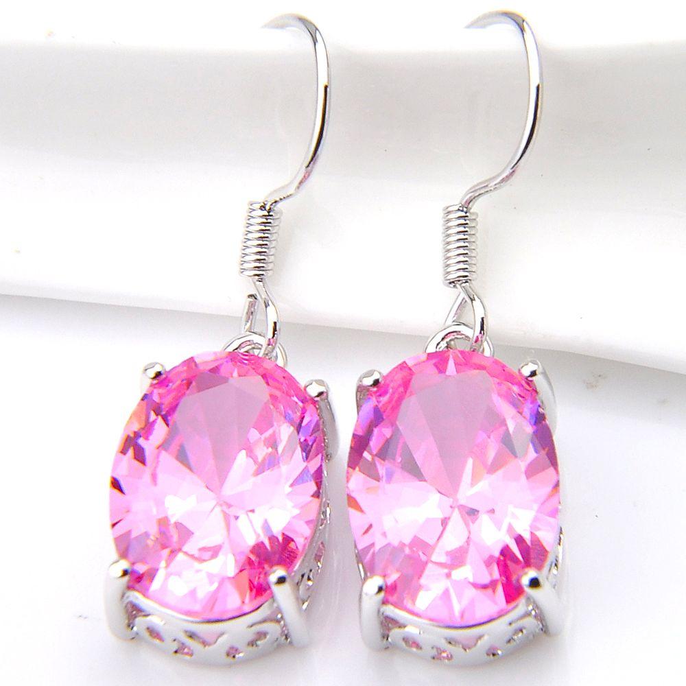 Luckyshine Fashion Jewelry Adorable Pink kunzite Handmade Earrings 925 Sliver For Women Zircon Oval Earrings Russia USA Australia Gift