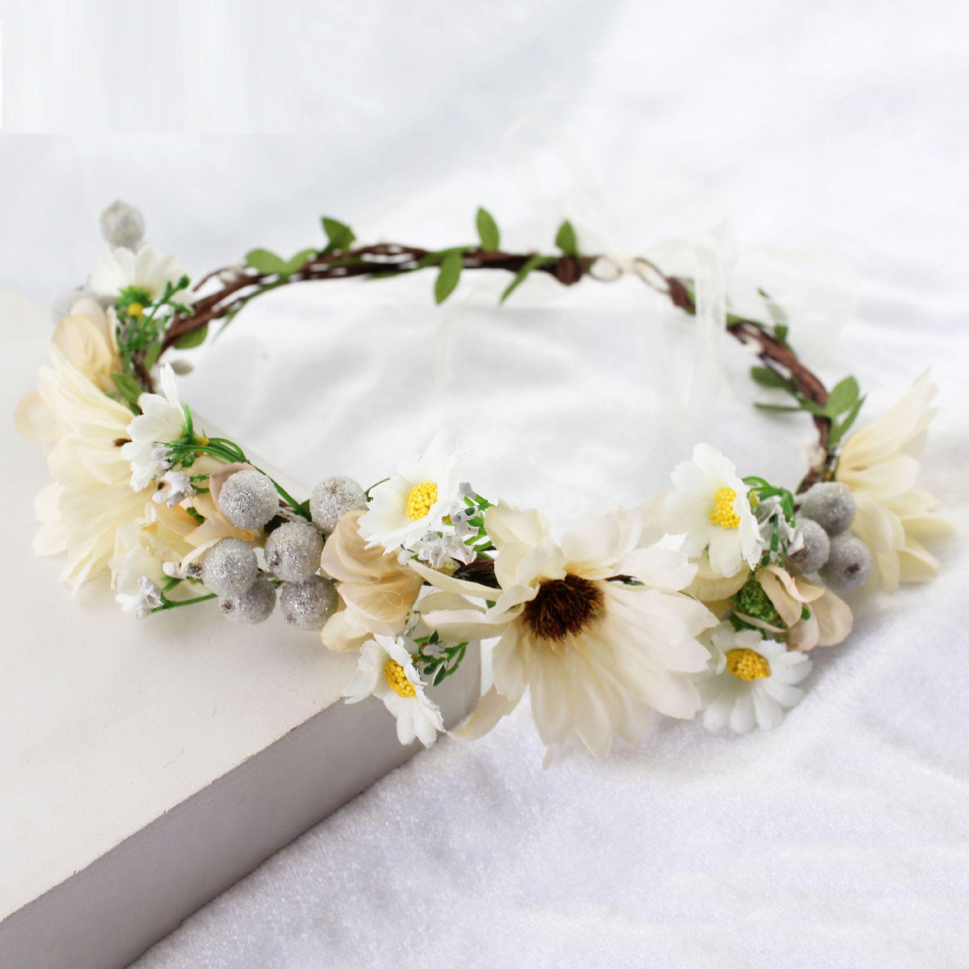 Flower Wreath Headband Floral Crown Garland Halo For Wedding