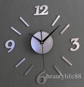 نسيج معدني 3D DIY الفضة بسيطة ساعة الحائط الرقمية مزيج الإبداعية ساعة الحائط DIY ساعة