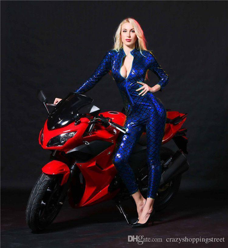 Sexy Jumpsuit Women Vinyl CatsuitLatex Faux Leather Bodysuit Zipper Open Crotch PVC Leotard red black