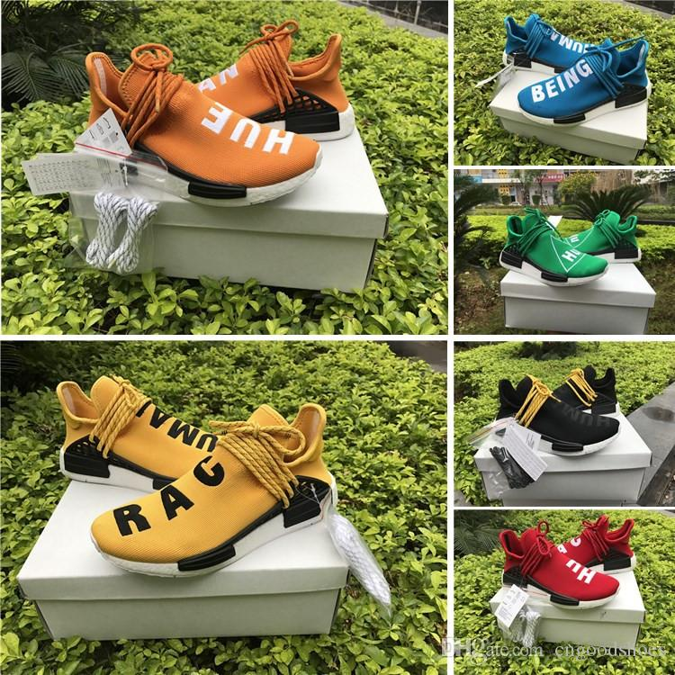 the best attitude f41d6 46809 2017 Red Human Race With HU NMD Red Pharrell Williams Running Shoes With  Box NMD Men Women Running Shoes Free shipping Size 36-45