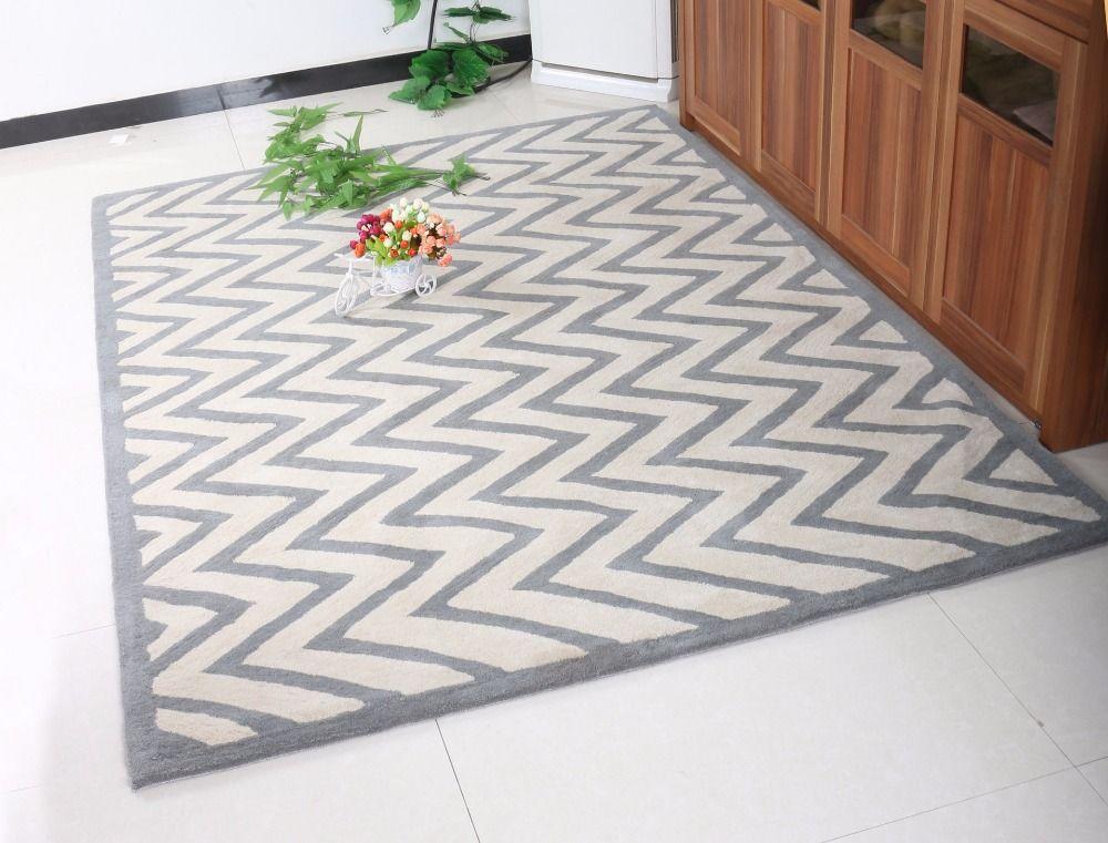 Großhandel Reiner Wolle Großer Teppich Geometrische Muster Matte